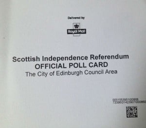 Scottish Referendum Polling Card